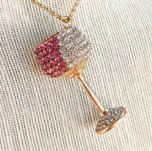 Pink & White Crystal Gold Wine Glass Necklace